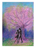 Lovers Dance under Full-Bloomed Cherry Blossoms Giclee Print by Mariko Miyake