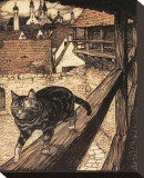 The Cat and Mouse in Partnership Stretched Canvas Print by Arthur Rackham