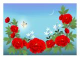 Red Peony Giclee Print by Ikuko Kowada