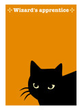 Black Cat in Yellow Giclee Print by Ikuko Kowada