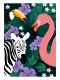 Zebra and Birds Giclee Print by Ikuko Kowada