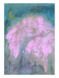 Crescent and Cherry Blossoms in the Evening Giclee Print by Mariko Miyake