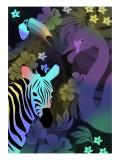 Zebra and Birds in the Night Giclee Print by Ikuko Kowada