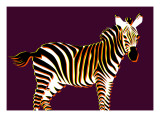 Zebra in Purple Horizontal Giclee Print by Ikuko Kowada