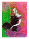 Maiden with Towhead That Embraces Black Cat Closely Giclee Print by Mariko Miyake