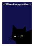 Black Cat in  Blue Giclee Print by Ikuko Kowada
