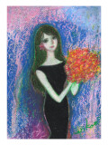 Woman of Black Dress Holds Bouquet Giclee Print by Mariko Miyake
