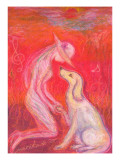 A Girl and a Dog Confirm Love Giclee Print by Mariko Miyake
