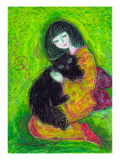 A Japanese Dress Girl Holds Black Cat Giclee Print by Mariko Miyake