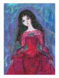 Woman of Red Dress at Night Giclee Print by Mariko Miyake