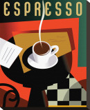 Cubist Espresso II Stretched Canvas Print by Eli Adams