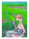 Lady and Cat on Teatime in Field Giclee Print by Mariko Miyake