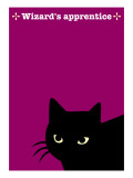 Black Cat in Pink Giclee Print by Ikuko Kowada