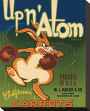 Up n&#39; Atom Brand California Carrots Stretched Canvas Print