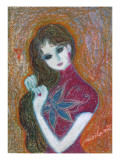Woman of Chinese Dress and Red Eardrop Giclee Print by Mariko Miyake