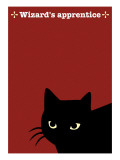 Black Cat in Red Giclee Print by Ikuko Kowada
