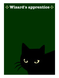 Black Cat in Green Giclee Print by Ikuko Kowada