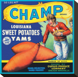 Champ Brand Louisiana Sweet Potatoes, Yams Stretched Canvas Print