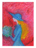 A Blue Hat and Dress Girl Holds Blue Bouquet Giclee Print by Mariko Miyake