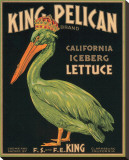 King Pelican Brand California Iceberg Lettuce Stretched Canvas Print