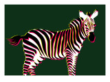 Zebra in Green Horizontal Giclee Print by Ikuko Kowada
