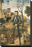 Young Knight In A Landscape: Francesco della Rovere Stretched Canvas Print by Vittore Carpaccio