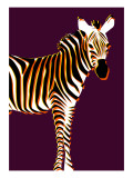 Zebra in Purple Vertical Giclee Print by Ikuko Kowada
