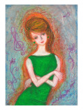 Woman of Green Dress Giclee Print by Mariko Miyake