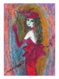 Woman with a Smile Putting on Favorite Crimson Hat and Dress Giclee Print by Mariko Miyake