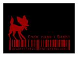 Red Bambi in Black Giclee Print by Ikuko Kowada