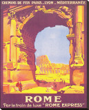 Rome, Par Le Train de Luxe Rome Express Stretched Canvas Print by Roger Broders