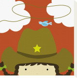 Peek-a-Boo Heroes: Cowgirl Stretched Canvas Print by Yuko Lau