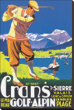 Crans, le plus beau Golf Alpin Stretched Canvas Print by  JEM