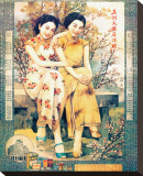 Two Shanghai Ladies with Flowers Reproducción en lienzo de la lámina