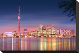 Toronto Skyline at Night Stretched Canvas Print