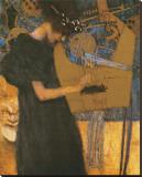 Die Musik Impressão em tela esticada por Gustav Klimt