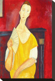 Woman with a Fan Stretched Canvas Print by Amedeo Modigliani