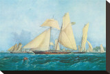 Yachting, Scene off Cowes Isle of Wight Stretched Canvas Print by Thomas Sewell Robins