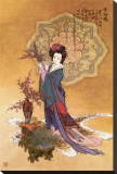 Lady with Plum Flowers Stretched Canvas Print