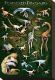 Feathered Dinosaurs I Stretched Canvas Print
