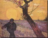 Le semeur au soleil couchant Reproduction transférée sur toile par Vincent van Gogh