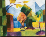 Garden on the Lake Stretched Canvas Print by Auguste Macke