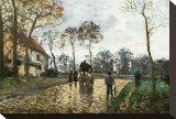 The Stagecoach Stretched Canvas Print by Camille Pissarro