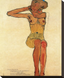 Seated Nude Stretched Canvas Print by Egon Schiele