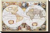 Wereldkaart met Engelse tekst Kunstdruk op gespannen doek