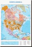 Mapa de América del Norte Reproducción en lienzo de la lámina