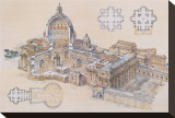 Rome, St. Peter's Basilica Stretched Canvas Print by L. Derrien