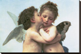The First Kiss (detail) Stretched Canvas Print by William Adolphe Bouguereau