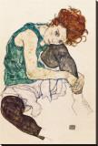 Kunstnerens kone Trykk på strukket lerret av Egon Schiele