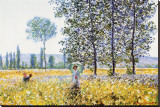 Field in Spring Stretched Canvas Print by Claude Monet